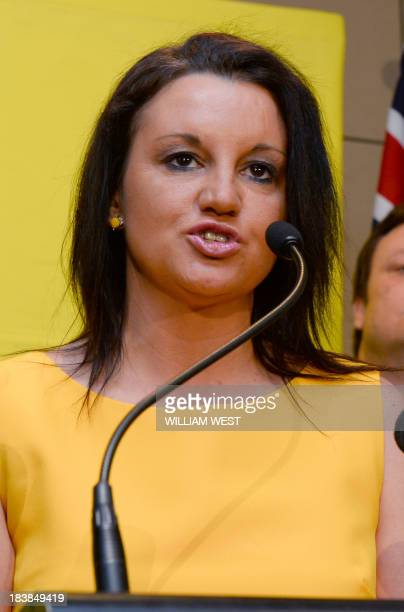 Senator Jacqui Lambie of the Palmer United Party speaks during a press conference in Sydney on October 10 2013 Australian mining billionaire and...