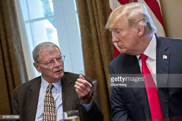 Senator James Inhofe a Republican from Oklahoma speaks as US President Donald Trump right listens during a meeting with Republican members of...