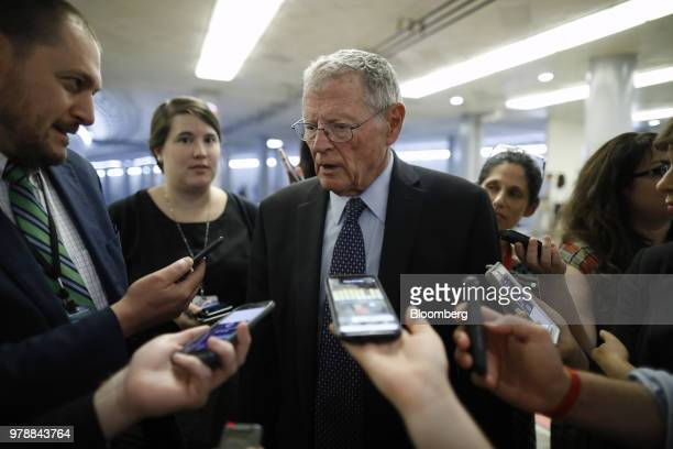Senator James Inhofe a Republican from Oklahoma speaks to members of the media ahead of a Senate weekly luncheon meeting at the US Capitol in...