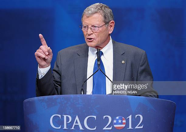 Senator James Inhofe ROK speaks during an address to the 39th Conservative Political Action Committee February 10 2012 in Washington DC AFP...