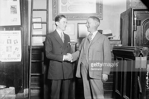 Senator James K. Walker, regular Democratic candidate for the Mayoral nomination in the New York City primaries is shown with Al Smith, , of New...