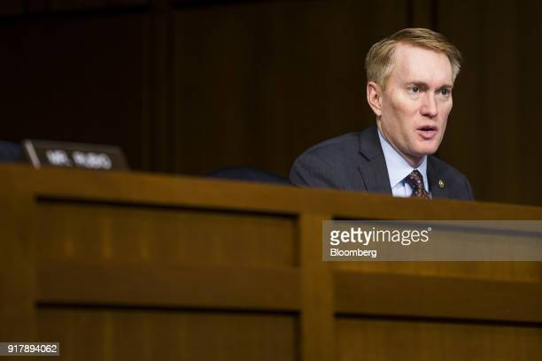 Senator James Lankford a Republican from Oklahoma speaks during a Senate Intelligence Committee hearing on worldwide threats in Washington DC US on...