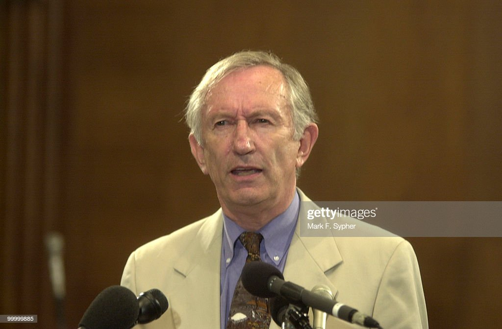 Senator James M. Jeffords (I-VT) addresses members of the press at a news conference concerning priorities for the committee.