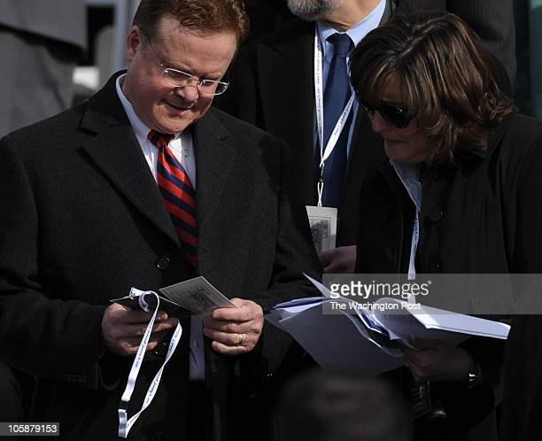 S Senator James Webb checks his seating arrangement while arriving to the inauguration ceremony for Virginia GovernorElect Bob McDonnell at the state...