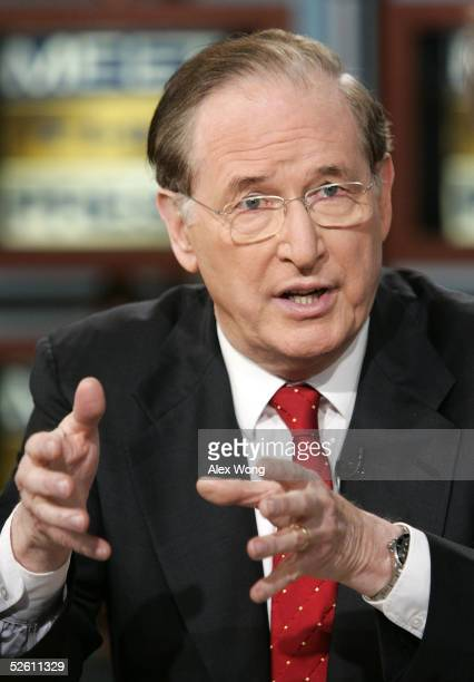 S Senator Jay Rockefeller speaks during a taping of 'Meet the Press' at the NBC studios April 10 2005 in Washington DC Senator Rockefeller spoke...