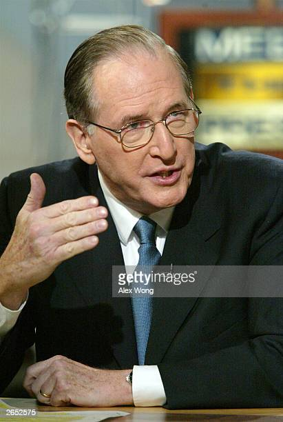 S Senator Jay Rockefeller speaks on NBC's Meet the Press October 26 2003 during a taping at the NBC studios in Washington DC Rockefeller talked about...