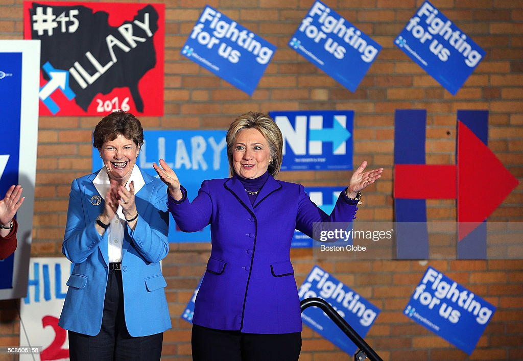 N.H. Senator Jeanne Shaheen applauds as democratic presidential candidate Hillary Clinton takes the stage at the Manchester Canvass Kick-Off with Women Leaders at the YMCA in Manchester, N.H., Feb. 5, 2016.