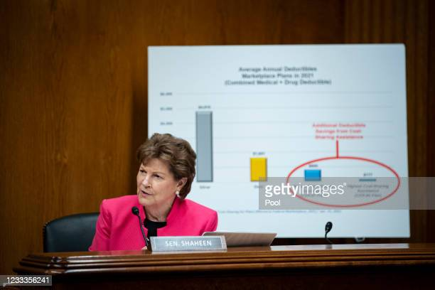Senator Jeanne Shaheen speaks during a Senate Appropriations Subcommittee hearing on June 9, 2021 at the U.S. Capitol in Washington, D.C. The...