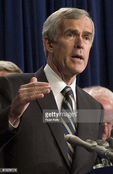 Senator Jeff Bingaman , Chairman of the Senate Energy and Natural Resources Committee, addresses the press after Senate Republicans blocked the...