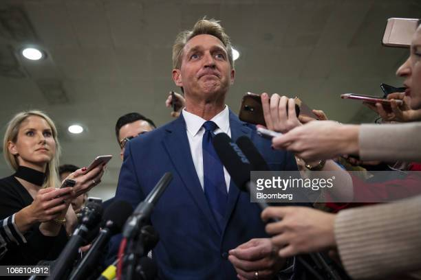 Senator Jeff Flake a Republican from Arizona listens to questions from members of the media following a briefing on the murder of USbased columnist...