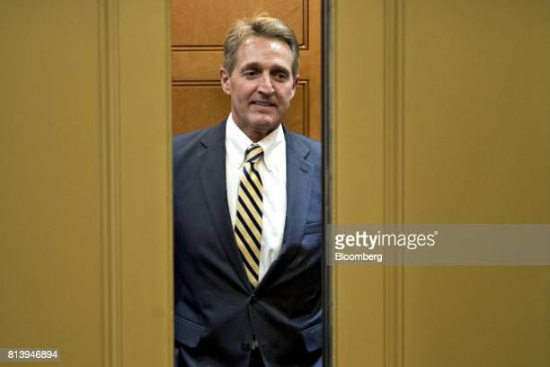 Senator Jeff Flake a Republican from Arizona stands in an elevator in the basement of the US Capitol in Washington DC US on Thursday July 13 2017...
