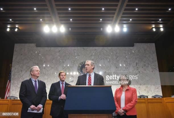 Senator Jeff Merkley DOR speaks during a press conference by Democratic senators including Senator Chris Van Hollen DMD Senator Richard Blumenthal...