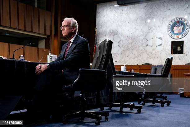 Senator Jerry Moran, R-Kan., speaks during a hearing with the Senate Committee on Health, Education, Labor, and Pensions, on the Covid-19 response,...