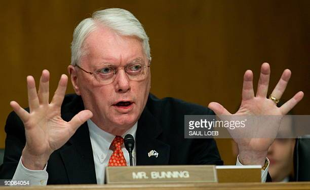 US Senator Jim Bunning a Republican from Kentucky questions US Secretary of Housing and Urban Development Shaun Donovan as he testifies before the...