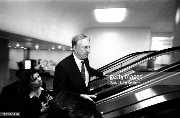 Senator Jim Jeffords of Vermont arrives at the US Capitol Building on the day the Senate voted to acquire President Bill Clinton on perjury and...