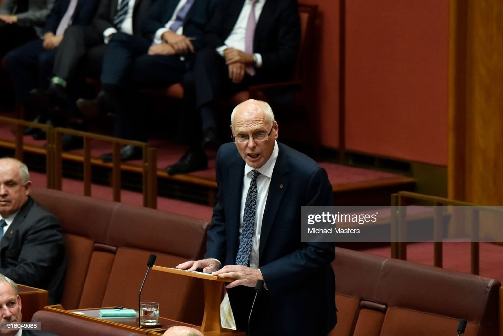 Senator Jim Molan delivers his first speech in the Senate on February 14, 2018 in Canberra, Australia.