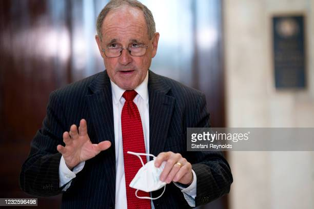 Senator Jim Risch departs Senate Republican policy luncheon at the Russell Senate Office Building on April 29, 2021 in Washington, DC. Many...