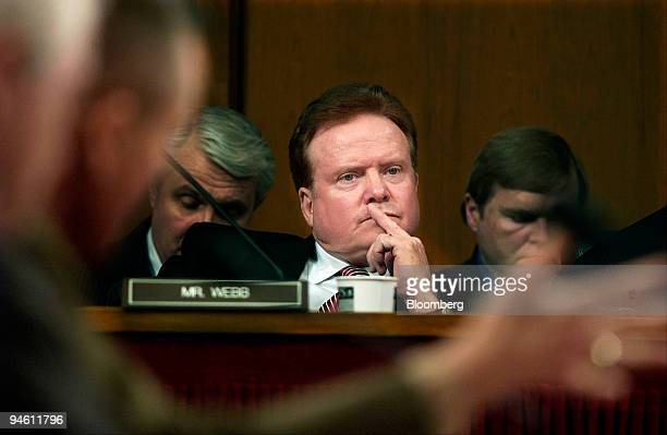Senator Jim Webb center listens to testimony from Secretary of Defense Robert Gates and General Peter Pace chairman of the Joint Chiefs of Staff...