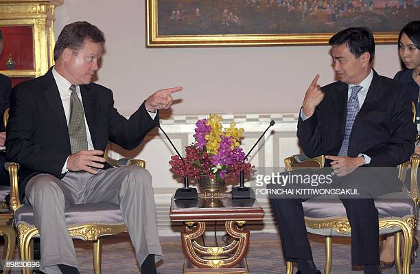 US Senator Jim Webb gestures as he talks with Thai Prime Minister Abhisit Vejjajiva at Government House in Bangkok on August 17 2009 Detained Myanmar...