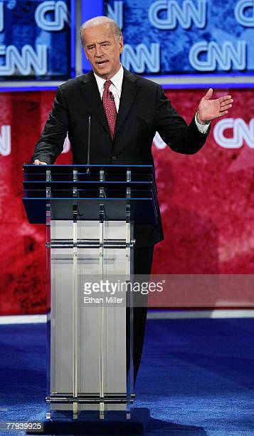 S Senator Joe Biden speaks during a Democratic presidential debate at UNLV sponsored by CNN November 15 2007 in Las Vegas NevadaThe two hour debate...