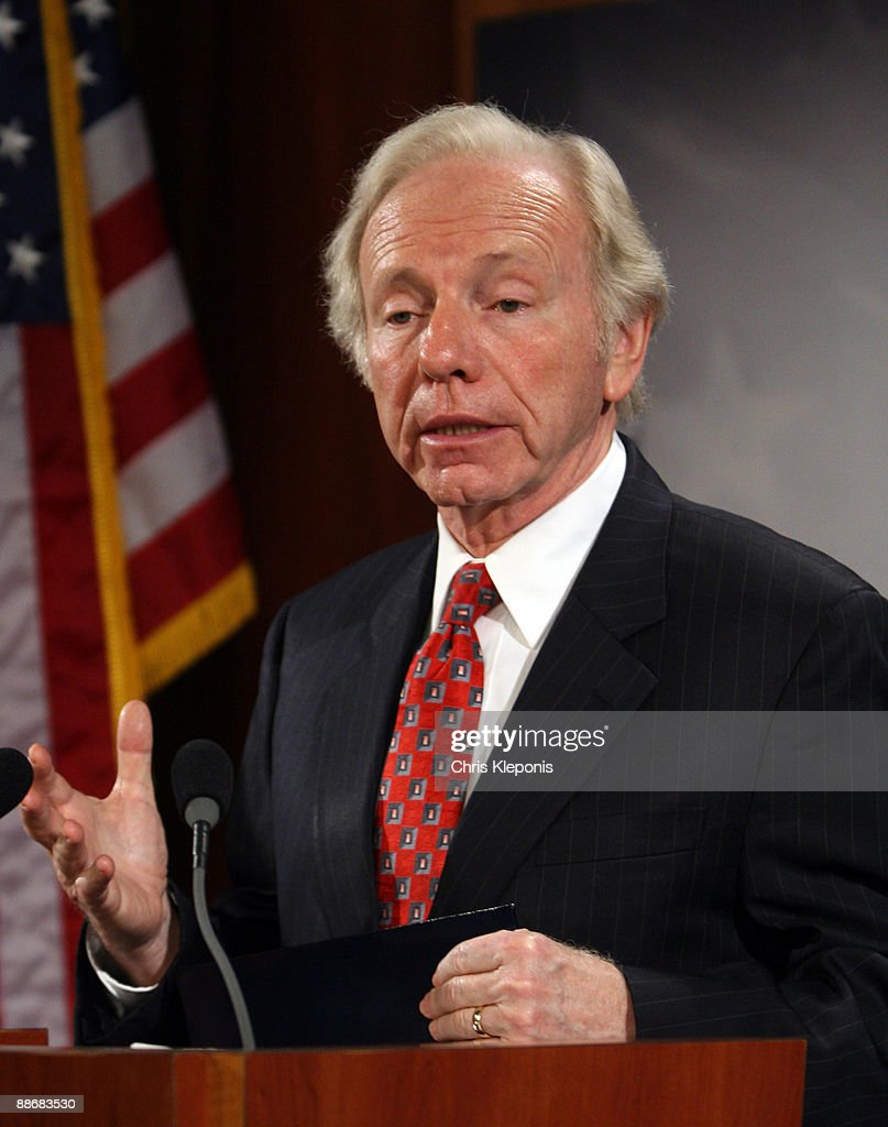 U.S. Senator Joe Lieberman (I-CT) speaks during a news briefing with Sen. John McCain June 25, 2009 on Capitol Hill in Washington, DC. McCain has proposed legislation to assist the people of Iran in promoting democracy. He said he would like to increase US-backed radio broadcasts into Iran.