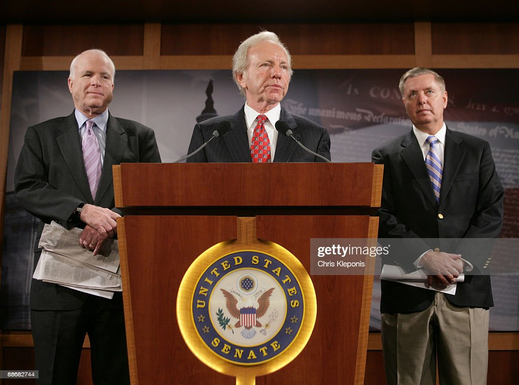 U.S. Senator Joe Lieberman (I-CT) speaks during a news briefing with Senators John McCain (R-AZ)(left) and Lindsey Graham (R-SC) June 25, 2009 on Capitol Hill in Washington, DC. McCain has proposed legislation to assist the people of Iran in promoting democracy. He said he would like to increase US-backed radio broadcasts into Iran.