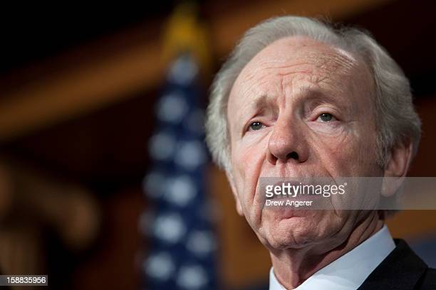 S Senator Joe Lieberman speaks during a press conference about their report on the Benghazi consulate attack on Capitol Hill on December 31 2012 in...
