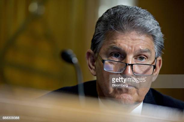 Senator Joe Manchin a Democrat from West Virginia listens during a Senate Energy and Natural Resources Committee nomination hearing in Washington DC...