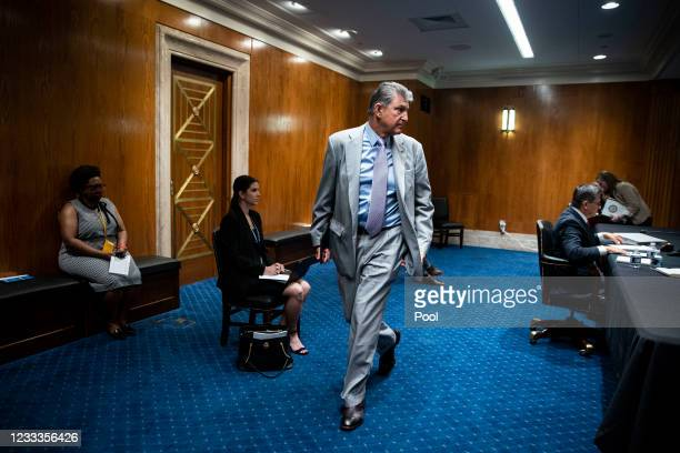 Senator Joe Manchin departs a Senate Appropriations Subcommittee hearing on June 9, 2021 at the U.S. Capitol in Washington, D.C. The committee is...