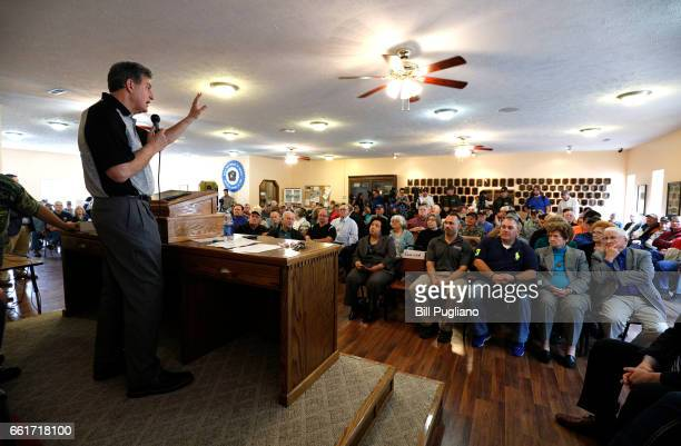 Senator Joe Manchin holds a Town Hall meeting with coal miners on March 31 2017 in Matewan West Virginia Manchin has announced that he will vote for...