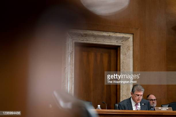 Senator Joe Manchin listens during a Senate Energy and Natural Resources Committee hearing in Washington DC on October 19, 2021. U.S. President Joe...