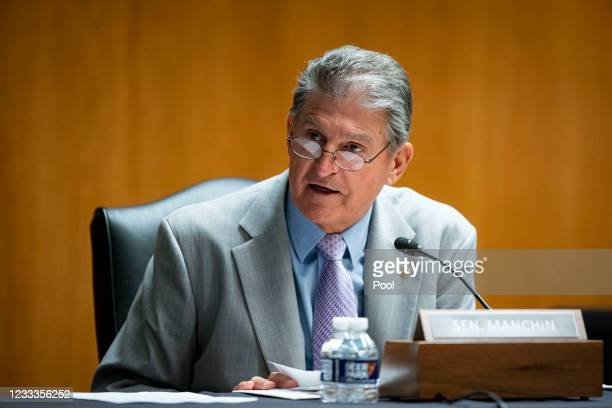 Senator Joe Manchin speaks during a Senate Appropriations Subcommittee hearing on June 9, 2021 at the U.S. Capitol in Washington, D.C. The committee...