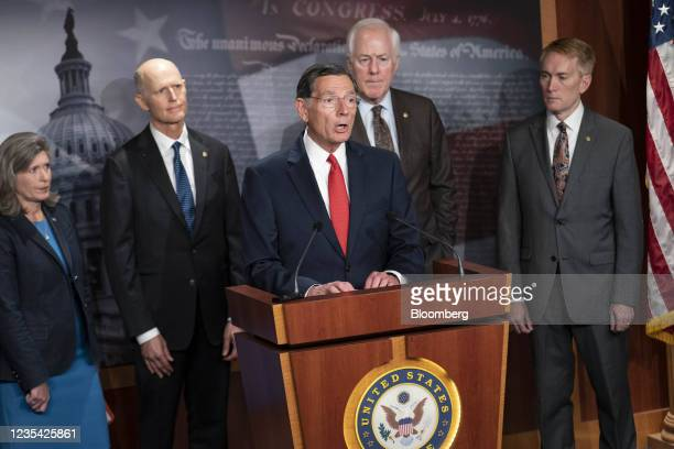 Senator John Barrasso, a Republican from Wyoming, speaks during a news conference on raising the debt ceiling at the U.S. Capitol in Washington,...