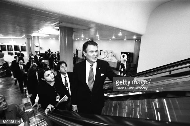 Senator John Breaux of Louisiana arrives at the US Capitol Building on the day the Senate voted to acquire President Bill Clinton on perjury and...