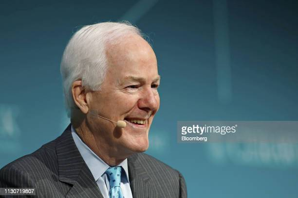Senator John Cornyn a Republican from Texas laughs during the 2019 CERAWeek by IHS Markit conference in Houston Texas US on Friday March 15 2019 The...