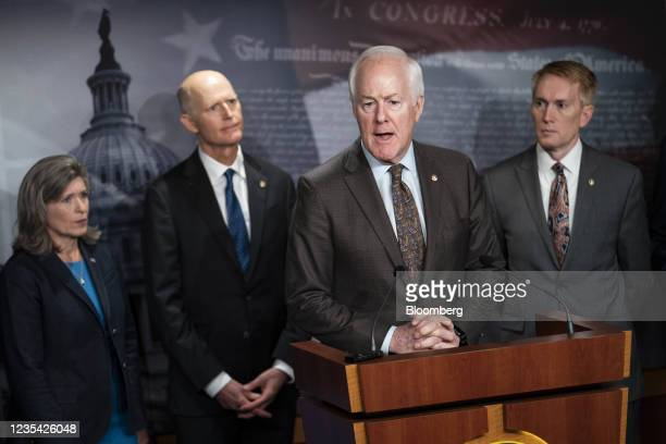Senator John Cornyn, a Republican from Texas, speaks during a news conference on raising the debt ceiling at the U.S. Capitol in Washington, D.C.,...