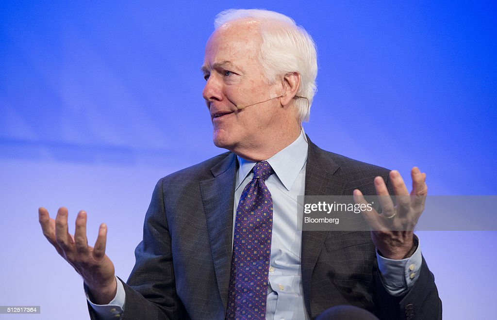 Senator John Cornyn, a Republican from Texas, speaks during the 2016 IHS CERAWeek conference in Houston, Texas, U.S., on Friday, Feb. 26, 2016. CERAWeek, in its 35th year, will provide new insights and critically-important dialogue with energy industry leaders, experts, government officials and policymakers, and leaders from the technology, financial and industrial communities. Photographer: Matthew Busch/Bloomberg via Getty Images