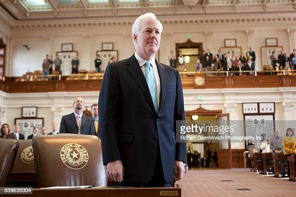 US Senator John Cornyn speaks at the swearing in of Texas Supreme Court Justice Eva Guzman of Houston in the Texas House chamber