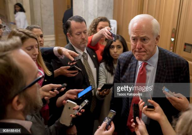 Senator John Cornyn walks out of the senate on Capitol Hill on January 21 2018 in Washington DC The US government is shut down after the Senate...