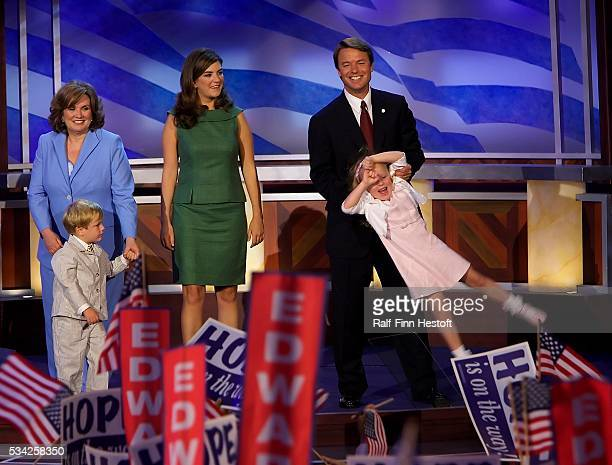 Senator John Edwards with his wife Elizabeth older daughter Catherine Cate younger daughter Emma Claire and son Jack after his speech at the 2004...