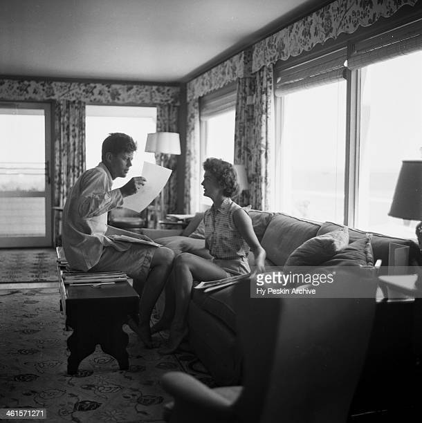 Senator John F Kennedy and fiance Jacqueline Bouvier on vacation at the Kennedy compound in June 1953 in Hyannis Port Massachusetts