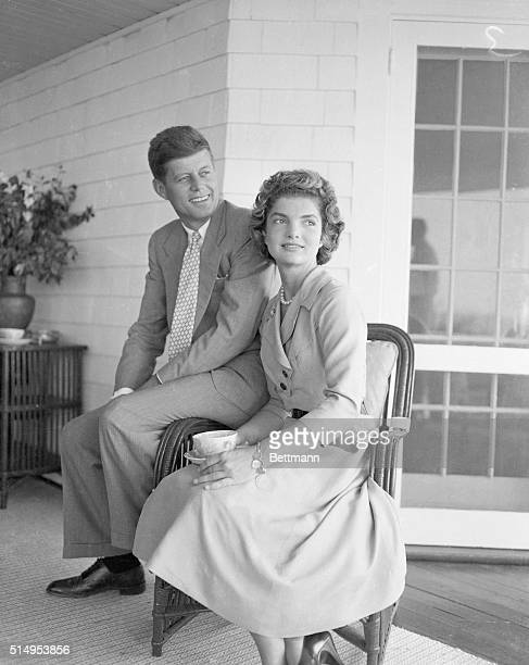 Senator John F Kennedy and Miss Jacqueline Lee Bouvier of Newport Rhode Island will be married September 12 at Newport in one of the most elaborate...