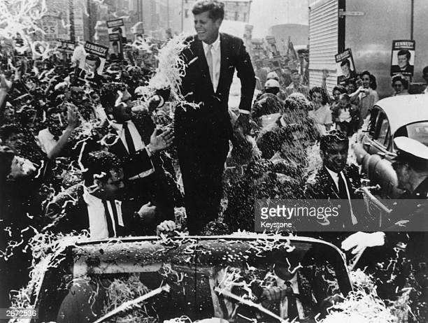 Senator John F Kennedy is given a rousing ovation during his presidential campaign
