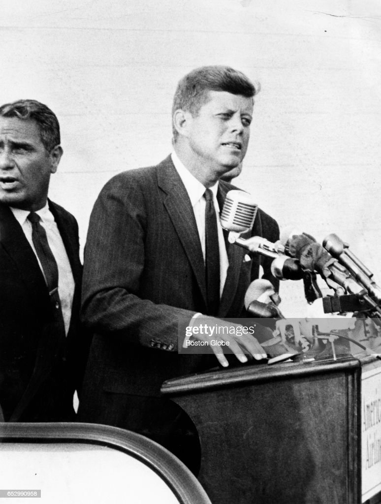 Senator John F. Kennedy speaks in Boston on July 17, 1960. He was nominated today as the Democratic Presidential candidate.