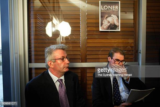 Senator John Faulkner and Bernard Lagan on left who wrote the book on Mark Latham called Loner Inside a Labor Tragedy at the book launch at Allen and...