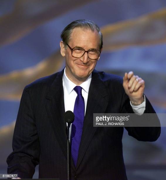 Senator John Jay Rockefeller IV gestures before addressing the Democratic National Convention at the Staples Center in Los Angeles California 16...