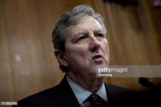 Senator John Kennedy a Republican from Louisiana questions Christopher Wray director of the Federal Bureau of Investigation nominee for US President...
