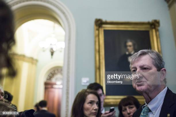 Senator John Kennedy a Republican from Louisiana speaks to members of the media near the Senate Chamber on Capitol Hill in Washington DC US on...