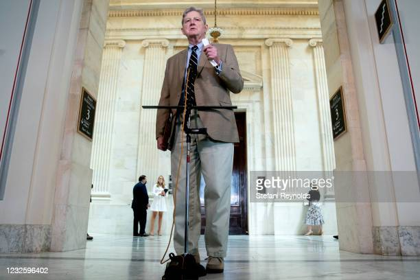 Senator John Kennedy speaks to members of the media while arriving to Senate Republican policy luncheon at the Russell Senate Office Building on...
