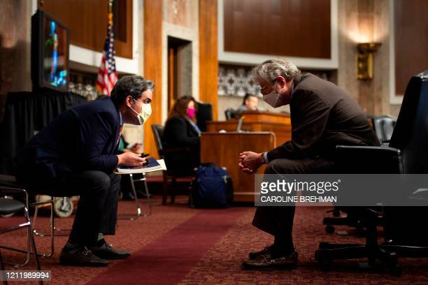 Senator John Kennedy speaks with a staff member during a Senate Judiciary Committee nomination hearing for Justin Reed Walker to be US Circuit Judge...